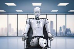 Le robot se reposent sur la chaise de bureau illustration libre de droits