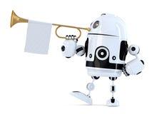Le robot tient la trompette avec le drapeau blanc vide illustration 3D Isolant illustration de vecteur