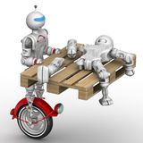 Le robot transporte le cyborg cassé illustration stock