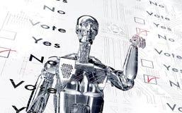 Le robot vote avec un clic virtuel illustration stock