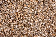 Le rocce e la spiaggia di pietra modellano il primo piano, fondo del litorale dell'estate Immagini Stock Libere da Diritti