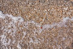 Le rocce e la spiaggia di pietra modellano il primo piano, fondo del litorale dell'estate Fotografia Stock Libera da Diritti