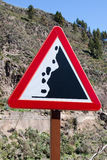 Le rocce verticali del pericolo firmano dentro le Isole Canarie Fotografia Stock