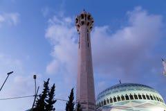 Le Roi Abdullah Mosque la nuit à Amman, Jordanie Image libre de droits