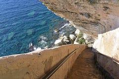 Le Roi Aragon Steps, Bonifacio image stock