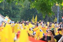 Le Roi Bhumibol Crest de Rama IX, sur sa quatre-vingt-sixième célébration d'anniversaire Photographie stock