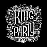 Le roi du T-shirts de partie impriment pour le fond foncé Le ROI du texte de PARTIE et les hommes manuscrits bourrent des dessins illustration stock