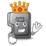 Le roi entrent dans le bouton installé sur la bande dessinée d'ordinateur illustration libre de droits