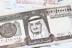 Le Roi Fahd On billet de banque de 1 riyal Images libres de droits
