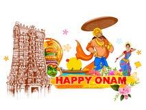 Le Roi Mahabali à l'arrière-plan d'Onam montrant la culture du Kerala illustration stock