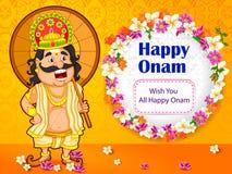 Le Roi Mahabali souhaite le festival d'Onam du Kerala illustration stock