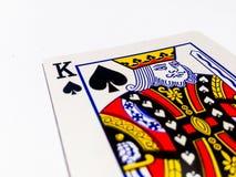 Le Roi Pikes/carte de pelles avec le fond blanc Image stock