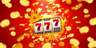 Le roi raine le casino de 777 bannières sur la bannière rouge illustration de vecteur