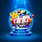Le roi raine le casino de 777 banni?res sur le fond d'or illustration stock