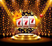 Le roi raine le casino de 777 banni?res sur le fond d'or illustration de vecteur