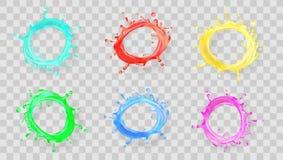 Le rond réaliste éclabousse de l'ensemble de jus ou de peinture de fruit illustration de vecteur