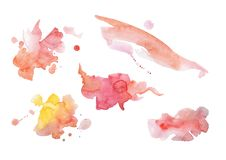 Le rose abstrait d'aquarelle éclabousse photographie stock