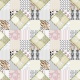 Le rose beige de patchwork ajuste la texture sans couture de modèle Image stock