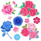 Le rose con le foglie hanno messo isolato su fondo bianco illustrazione vettoriale
