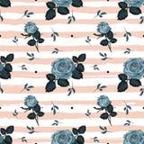 Le rose d'annata modellano il fondo barrato rose blu disegnate a mano Il contesto floreale, annata fiorisce la carta da parati Ve illustrazione vettoriale