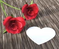 Le rose del cuore indica Valentine Day And Bloom Immagine Stock