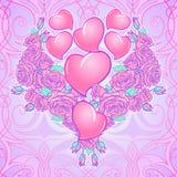 Le rose ed i cuori sistemati in un cuore hanno modellato il modello Progettazione festiva di giorno del ` s del biglietto di S. V royalty illustrazione gratis
