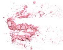Le rose en pastel composent le fard à paupières sur le blanc images stock