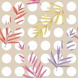 Le rose en pastel doux sur le modèle sans couture blanc de points de polka s'est mélangé aux feuilles exotiques colorées Photo libre de droits