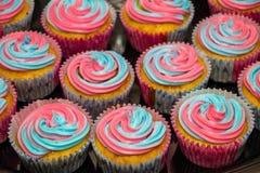 Le rose et le genre coloré bleu indiquent des petits gâteaux photo stock