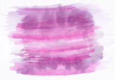 Le rose et le pourpre ont souillé la main horizontale d de gradient d'aquarelle photo stock