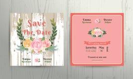 Le rose floreali avvolgono i risparmi il modello della carta dell'invito di nozze della data Illustrazione di Stock