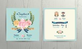 Le rose floreali avvolgono la carta dell'invito delle coppie della sposa e dello sposo del fumetto di nozze Illustrazione Vettoriale