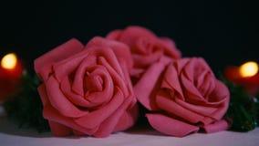 Le rose a monté avec la longueur brûlante de bougie pour la décoration Valentine banque de vidéos