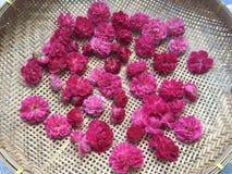 Le rose plein-a fleuri des roses de damassé sur le panier plat en bambou photo stock