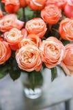 Le rose rosa-chiaro del cespuglio della pesca del ND fiorisce in vaso sulla tavola di legno Bello mazzo di estate Disposizione co fotografia stock libera da diritti