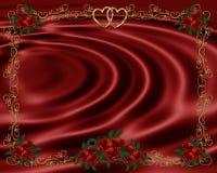 Le rose rosse delimitano l'invito di cerimonia nuziale Fotografia Stock