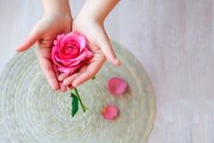 Le rose s'est levé à disposition et des pétales de rose Images stock