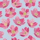 Le rose sans couture de modèle fleurit, fond bleu-clair, style d'art de bruit Photo stock