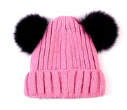 Le rose a tricoté le chapeau d'enfants de laine d'isolement Photos libres de droits