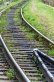 Le rotaie ferroviarie si chiudono su fotografia stock libera da diritti