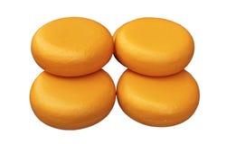 Le rotelle del formaggio hanno isolato Fotografia Stock Libera da Diritti
