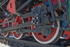Le rotelle delle locomotive di vapore Fotografia Stock