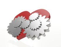 Le rouage d'horloge engrène le coeur Images libres de droits