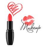 Le rouge à lèvres de maquillage et le coeur rouges de griffonnage ont isolé l'illustration de vecteur Photo stock