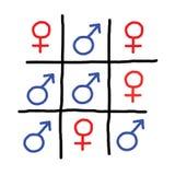 Le rouge bleu de sexe signe la pièce drôle de jeu Photographie stock libre de droits