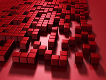 Le rouge cube le fond 3d chaotique Image libre de droits
