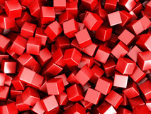 Le rouge cube le fond 3d chaotique Photographie stock libre de droits