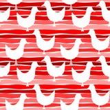 Le rouge d'oiseaux de pochoir barre le fond sans couture Photo libre de droits