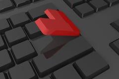Le rouge entrent dans le bouton sur le clavier Images libres de droits