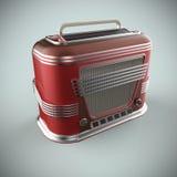 Le rouge et la radio de vintage de chrome rendent Photos stock